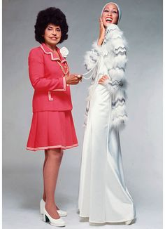 Eunice Johnson, executive of Johnson Publishing Company & founder and director of the Ebony Fashion Fair, with Pat Cleveland, 1972.