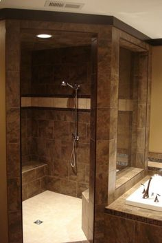 Walk-In Shower @ DIY Home Design Love this - master bath Dream Bathrooms, Beautiful Bathrooms, Bathroom Renos, Master Bathroom, Design Bathroom, Tile Design, My New Room, Home Remodeling, Building A House