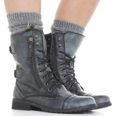 COmbat Laced Boots--Smokey Grey--Lisitng is for one Pair ❤ liked on Polyvore featuring shoes, boots, combat style boots, laced up boots, front lace up boots, gray combat boots and grey lace up boots