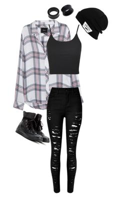 """Untitled #223"" by alternativeoutfits1 ❤ liked on Polyvore featuring Rails, Topshop, Converse, Vans and NOVICA"