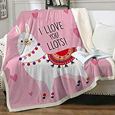 Sleepwish Llama Sherpa Blanket Twin Size for Adult Women Home Fleece Throw Blanket Cute Soft Blanket for Sofa Chair Bed Office Travelling Camping Gifts for Mom Mother, Pink, X Cute Llama, Funny Llama, Llama Gifts, Cooling Blanket, Chair Bed, Warm Blankets, Camping Gifts, Girl House, Fleece Throw