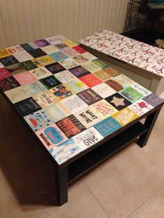 Updated an IKEA coffee table using quotes  Also added Eiffel Tower fabric to blanket chest