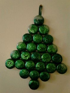 Tree from recycled painted tea light tins