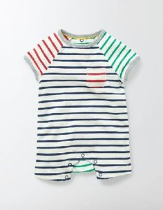 #Baby Fun Summer Romper Hotchpotch Stripe Baby Boden, #In bright prints with colourful contrast pockets, this romper is fun for baby to wear (and sweet for you to look at). Its easy to pull on too, thanks to its popper openings which also make emergency changes a breeze. The 100% cotton fabric is soft on babys skin, while the short sleeves and legs will keep them feeling cool and comfortable - no matter how much they squirm around.