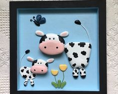 Pebble art wall decor for nurseries, kids, and adults. by FroggyandCoCreations Cow Wall Art, Cow Art, Pebble Painting, Pebble Art, Rock Painting, Nursery Wall Decor, Wall Art Decor, Wooden Shadow Box, Cow Decor