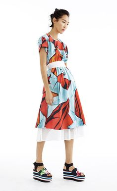 Paper Cranes Ribbon Tie Dress and White Square Mesh Skirt - Women's Spring 2015 Collection by Clover Canyon