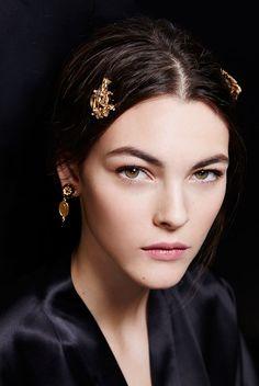 Vittoria Ceretti backstage at Dolce & Gabbana F/W 2015