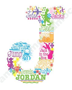 Letter J Personalized Graphic Art Print.