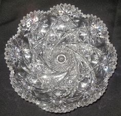 "Rare 9"" Antique American Brilliant Cut Glass Bowl Mitre Cut N/R"