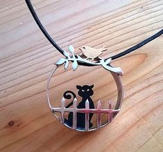 Cat and bird pendant, cat lover gift for her, sterling silver handcut artisan jewelry, one-of-a-kind cat necklace, nilaj Cat Jewelry, Animal Jewelry, Pandora Jewelry, Jewelry Art, Jewelery, Jewelry Crafts, Sterling Silver Chains, Sterling Silver Pendants, Artisan Jewelry