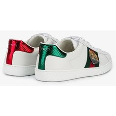 Gucci tiger embroidered sneakers (4,165 GTQ) ❤ liked on Polyvore featuring men's fashion, men's shoes, men's sneakers, gucci sneakers, real leather shoes, embroidered shoes, white trainers and gucci shoes