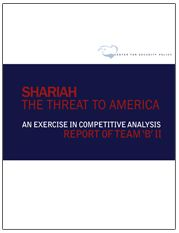 """The Shariah Threat to America 