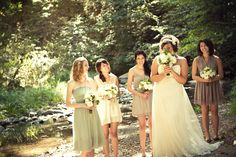 Love the bridesmaid dresses!  Mismatched perfection!  Wish I knew where they are all from.  Photos by Jessica Velarde