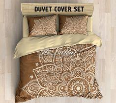 Boho bedding, Mandala duvet cover set, Purple sacred mandala bedroom, Hippie bedroom interior