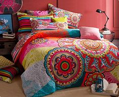 MeMoreCool Home Textile Ethnic Country Style Thicken Brushed Bedding Set Colorful Bohemian Style Duvet Covers Elegant Flounce Design Bed Sheets Queen Size 4Pcs MeMoreCool http://www.amazon.com/dp/B00T4LHL26/ref=cm_sw_r_pi_dp_A.-kwb0FNSN0B