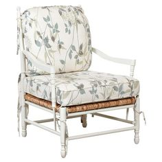Showcasing tie-down cushions and cotton upholstery, this lovely accent chair brings garden-chic appeal to your dining room or home library. ...