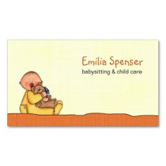 Babysitting Child Care Yellow Business Card