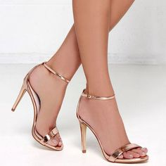 Shoespie Golden Open Toe Ankle Strap Stiletto Heel Sandals