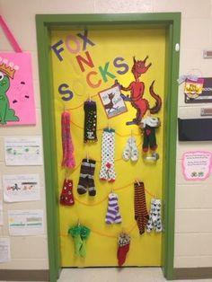 Dr Seuss classroom door- Fox in Socks