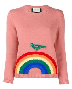 This pink wool Gucci jumper comes from the label's lauded Resort 2016 collection. The designer finds the perfect balance between playfulness and wearability, as this piece adopts a relaxed-fitting silhouette with a fun rainbow and bird design at the hem.