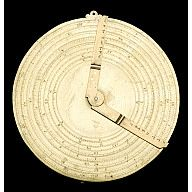 This instrument is in fact two instruments, and is one of the earliest known examples of Oughtred's invention, published in 1632. Oughtred's circles of proportions was invented to facilitate the use of logarithms. Instead of using Gunter's lines with a pair of dividers, this instrument, by simply moving the two rules, could make a multiplication or division more effectively. One still required printed tables of logarithms to convert numerals into logarithms, and vice versa.