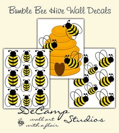 Bumble Bee And Hive Wall Decals For Baby Girl Or Boy Nursery Childrens Room Kitchen Ideas Classroom Art Decor