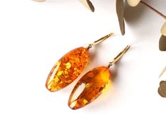 Cognac massive amber earrings, unique shape dangle gold color amber earrings, drops earrings, amber beads, gemstone earrings, baltic amber by AmberDesign8 on Etsy
