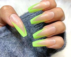 Edgy Nails, Polygel Nails, Shiny Nails, Dope Nails, Glue On Nails, Swag Nails, Acrylic Nail Designs Classy, Dope Nail Designs, Green Nail Designs