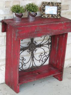 Console 30 X 12 X 30 In Distressed Red