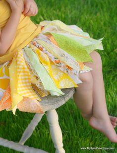Fabric Scraps Tutu Skirt Yellow Sunshine MADE TO ODER size Newborn to 4T. $24.99, via Etsy.