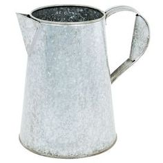 """Galvanized metal vase in the shape of a carafe.       Product: Vase  Construction Material: Metal  Color: Silver  Features: 1.75 Gallon capacity  Dimensions: 10 H x 11"""" W x 5.5"""" D"""