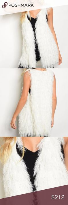AVAILABLE NOW! STUNNING SHAG KNIT VEST NEW!   Off white sleeveless shag/fringe sweater vest.  AS SEEN IN PICS modeled in a size small Fabric Content: 60% NYLON 40% ACRYLIC HVHOUSEWIFE Sweaters Cardigans