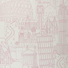 Pink London wallpaper - Globetrotter, Showstoppers at Clarke & Clarke