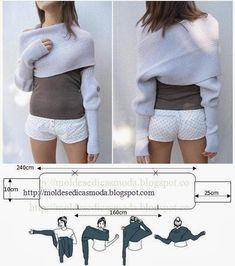 Moda e Dicas de Costura: CACHECOL COM MANGAS