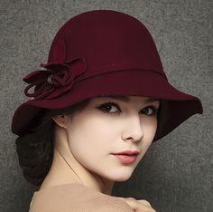 Warmest wool flower cloche hat for women winter wear