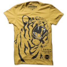 """Got a problem? Let your shirt solve it. The fierce, slim-fit men's cotton tee by Arqeubus reads, """"Let him who tied the bell on the Tiger take if off."""" Or, whoever started the conflict should end it. (Or, as our kid sister says, """"Ain't my problem!"""")"""
