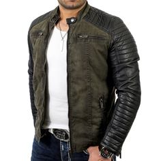 Redbridge Men's Biker Art Leather Jacket R-41451 Khaki 2XL