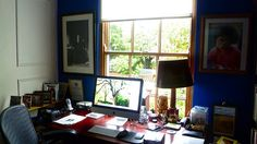 dig the view and the blue wall with the red desk