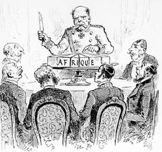 """The political cartoon above is depicting the Berlin Conference. This is the meeting where the European powers met with eachother to divide up Africa. The countries saw Africa as a """"magnificent cake"""" (as shown in the picture) , and they all wanted a piece. The """"frosting"""" of the cake is Africa's vast natural recourses which would give the European countries wealth. The leader of Belgium at the time, King Leopold II, had sent out scouts to see which parts of Africa were the best. He found out…"""