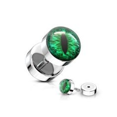 Spikes Fake plug with coloured snake eye inlay ball – Green Fake Piercing, Piercing Ring, Piercings, Daith Earrings, Cute Earrings, Fake Plugs, Labret Studs, Silver Nose Ring, Snake Eyes