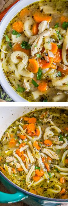Chicken Noodle Soup with Homemade Noodles from The Food Charlatan. Is there anything more comforting than Chicken Noodle Soup? Carrots, onions, celery…the smell is enough to bring you back. This recipe uses dark and white meat from a rotisserie chicken, and homemade egg noodles (or you can totally use store-bought). It's nostalgia in a bowl! #soup #chicken #dinner