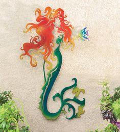 Metal Mermaid Wall Sculpture