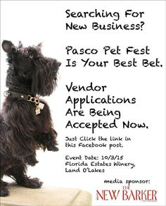 Looking for some cool exposure this fall, check out the Pasco Pet Fest. Applications are being accepted now. Great venue (dog-friendly Florida Estates Winery). Great cause (beneficiary is Pit Bull Happenings Rescue). Please share. #pasco #pitbulls