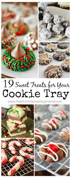 19 Sweet Treats for your Christmas Day cookie tray! #Christmascookies #cookies www.thekitchenismyplayground.com