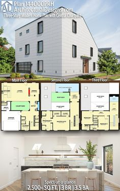 Contemporary Modern House Plan 144000PRH gives you 2,500+ square feet of living space with 3 bedrooms and 3.5 baths. AD House Plan #144000PRH #adhouseplans #architecturaldesigns #houseplans #homeplans #floorplans #homeplan #floorplan #floorplans #houseplan #modernstyle #modernhouse #contemporaryhouse #contemporarydesign #moderndesign New House Plans, Modern House Plans, Building Section, Building A House, Sunroom Addition, Double Sided Fireplace, Beautiful Home Designs, Roof Plan, Built In Shelves