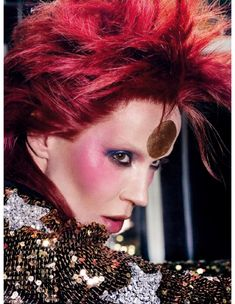Hannelore Knuts as David Bowie in fashion editorial Rock the House, photographed by Steven Meisel. US Vogue, 2001   Kate Moss portraying Bowie's Aladdin Sane for Vogue UK. May 2003. Phot…