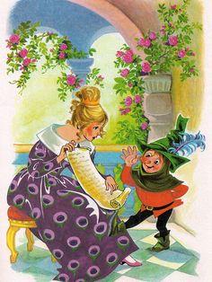 'Rumpelstiltskin' Pestalozzi Publishing, 1970, Germany Illustration by by Rosa Warzilek.