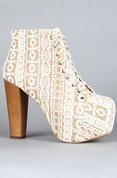 The Lita Shoe in Beige Lace and Tan Macrame by Jeffrey Campbell. I never wanted a shoe as bad as I want this