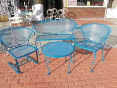 vintage 4 piece wrought iron patio garden furniture