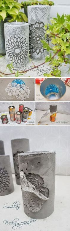 DIY Concrete Candle Holder. #weddingcandlesdiy